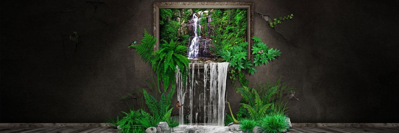 قالب زیبای تابلو آبشار