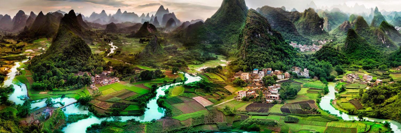 قالب زیبای روستای سرسبز