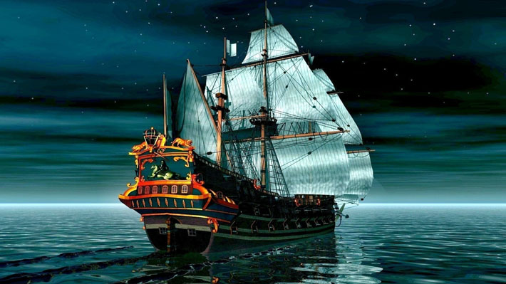 قالب زیبای کشتی بادبانی در اقیانوس