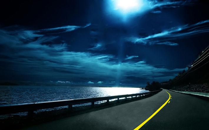 قالب زیبای جاده شب