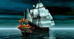 قالب کشتی شب , کشتی قدیمی بادبانی و شب, کشتی, قالب کشتی قدیمی در اقیانوس, قالب کشتی دزدان دریایی, قالب کشتی برای بلاگفا, قالب کشتی بادبانی, عاشقانه, شب, رمانتیک, اقیانوس